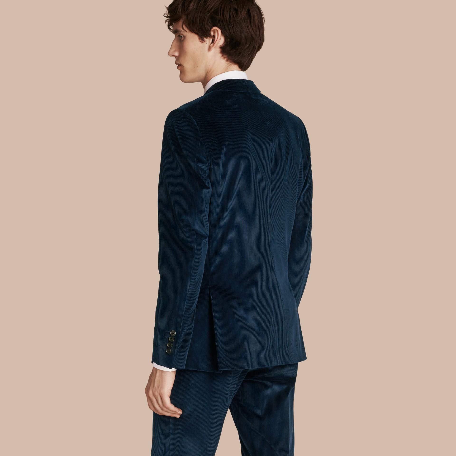 Navy Slim Fit Cotton Corduroy Jacket - gallery image 3