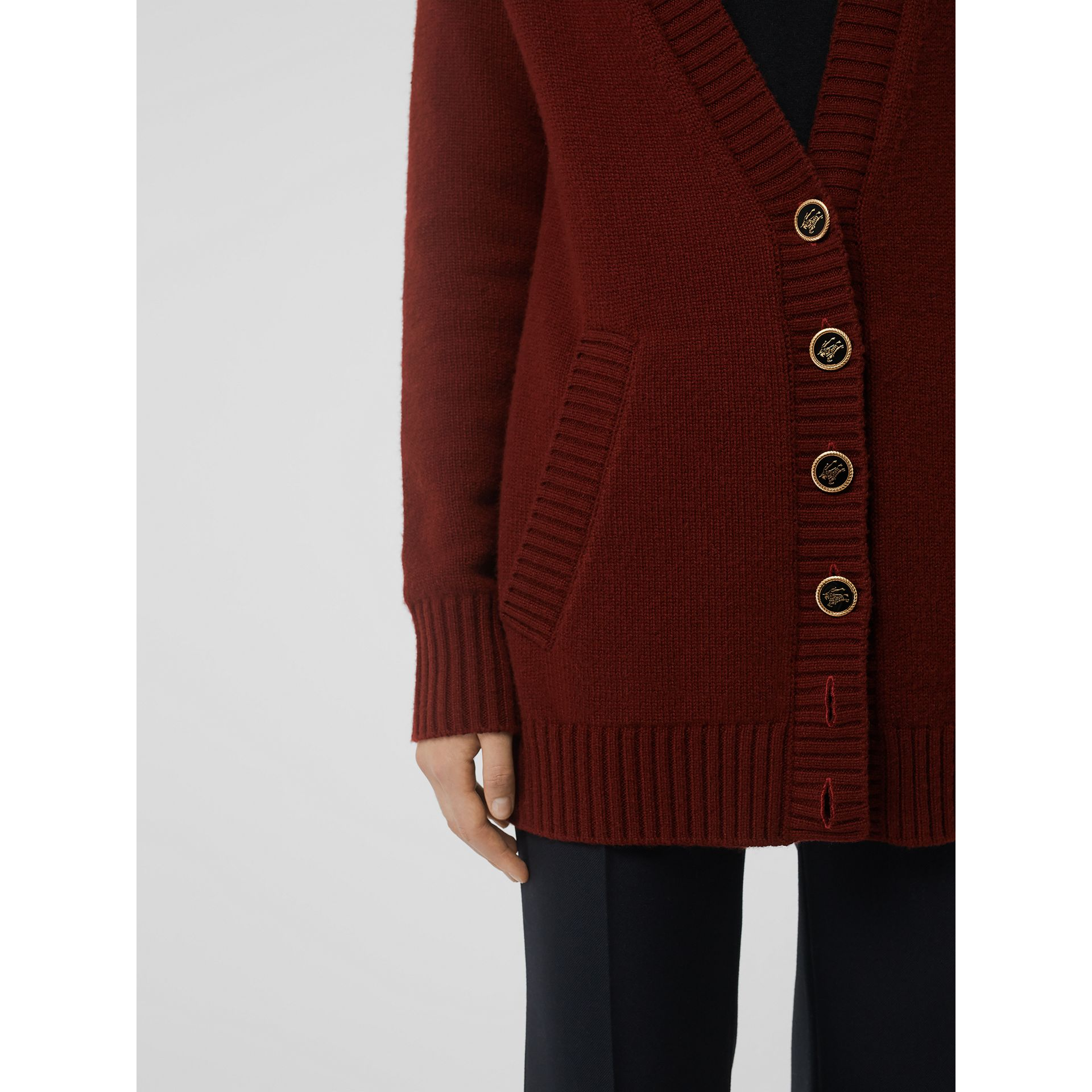 Logo Button Cashmere Cardigan in Dark Russet Brown - Women | Burberry Canada - gallery image 1