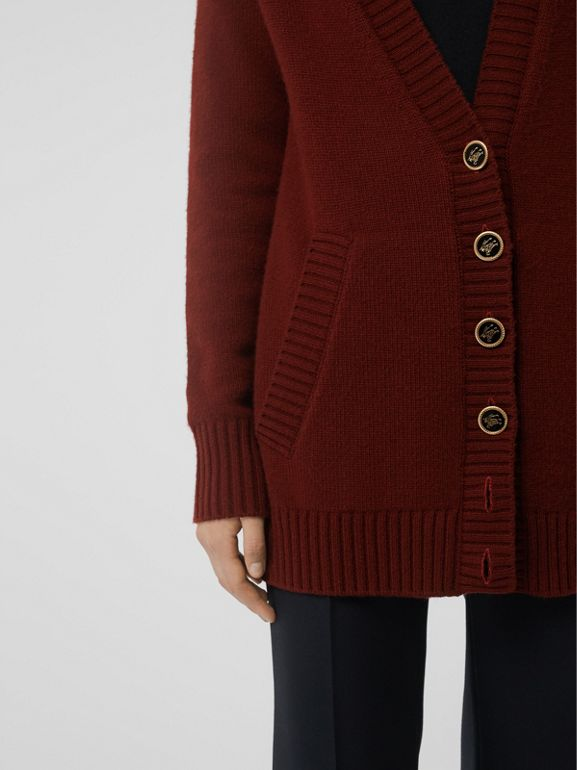 Logo Button Cashmere Cardigan in Dark Russet Brown - Women | Burberry Canada - cell image 1
