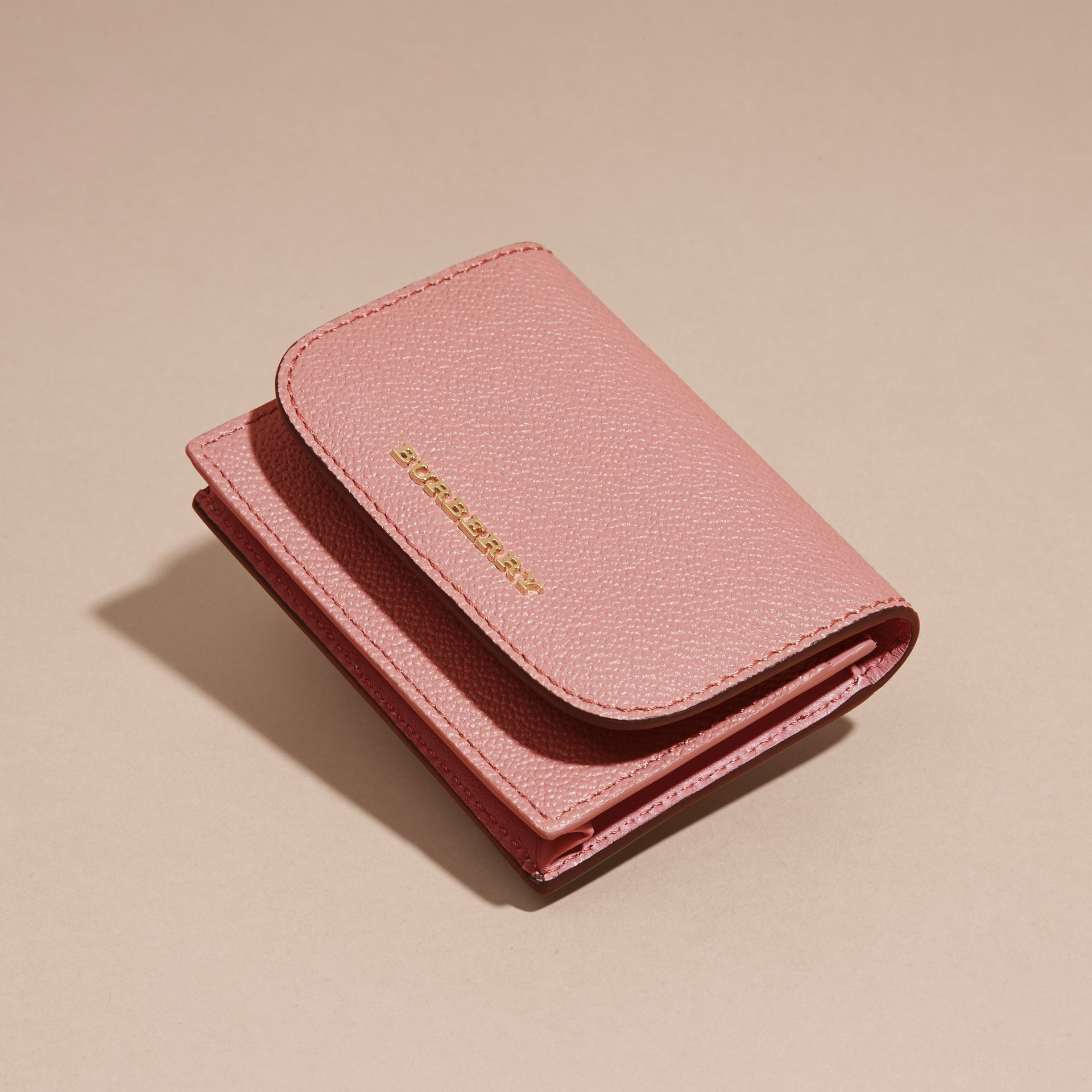Grainy Leather Card Case in Dusty Pink - gallery image 3