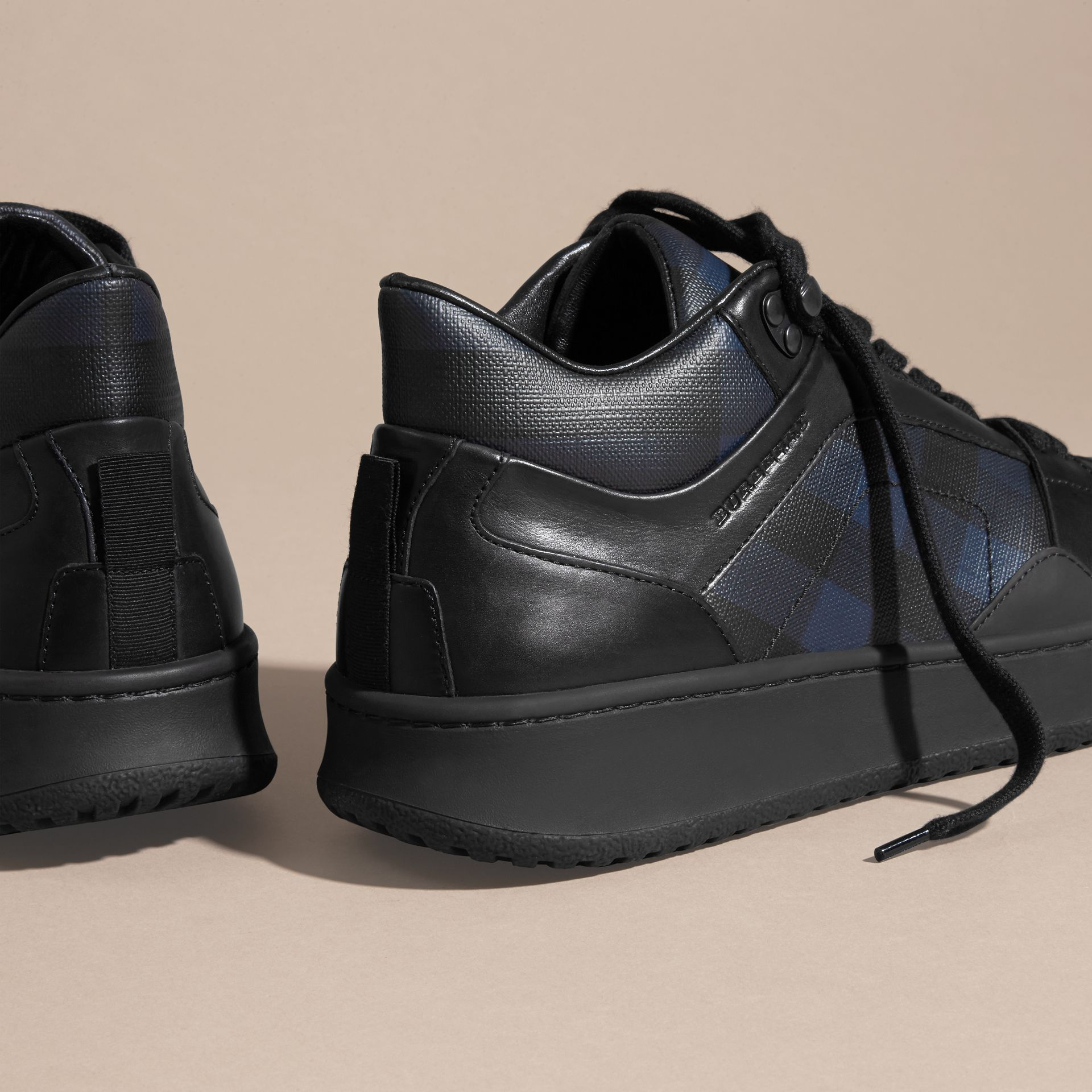 Navy London Check and Leather Trainers Navy - gallery image 4