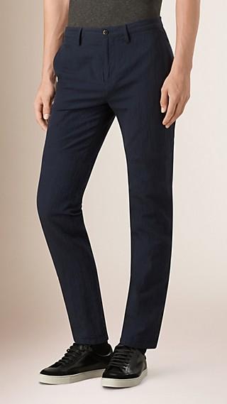 Slim Fit Cotton Linen Seersucker Trousers