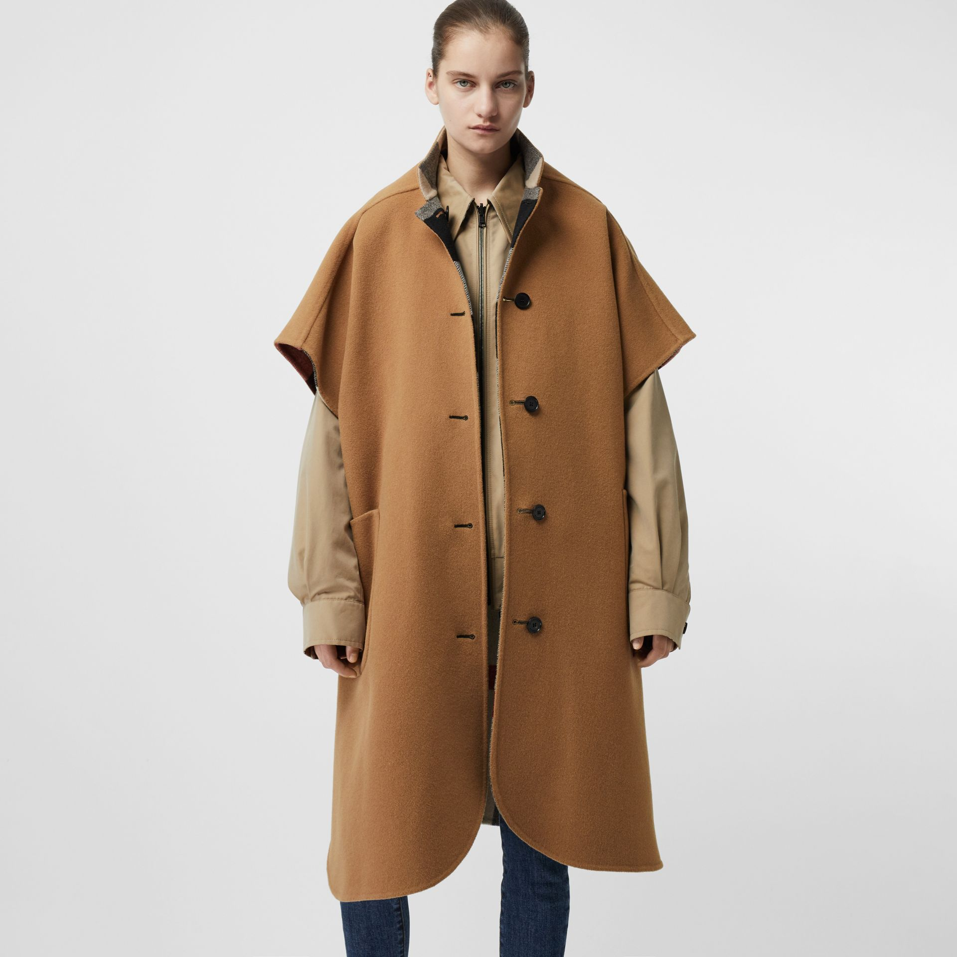Reversible Check Wool Blend Poncho in Camel | Burberry Australia - gallery image 2