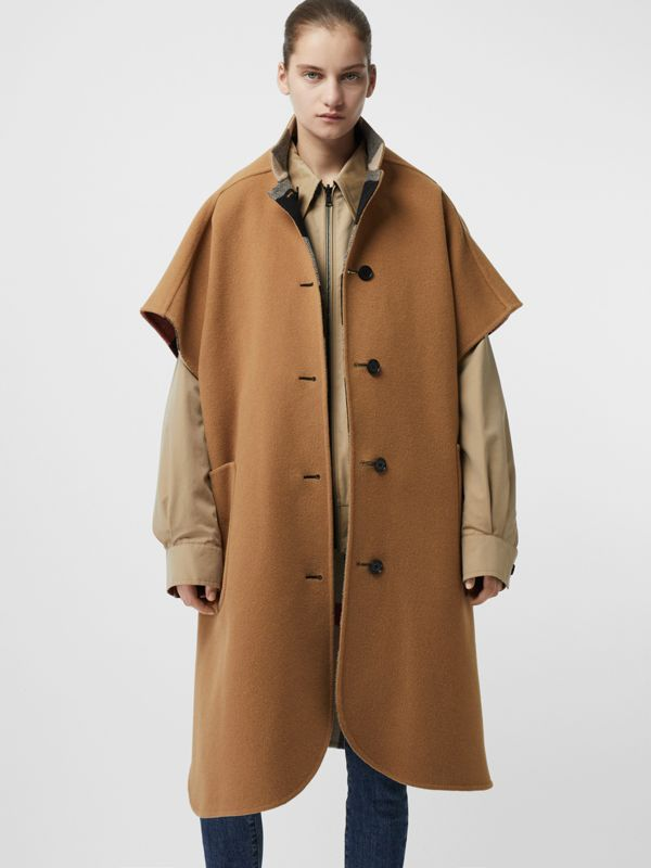 Reversible Check Wool Blend Poncho in Camel | Burberry - cell image 2