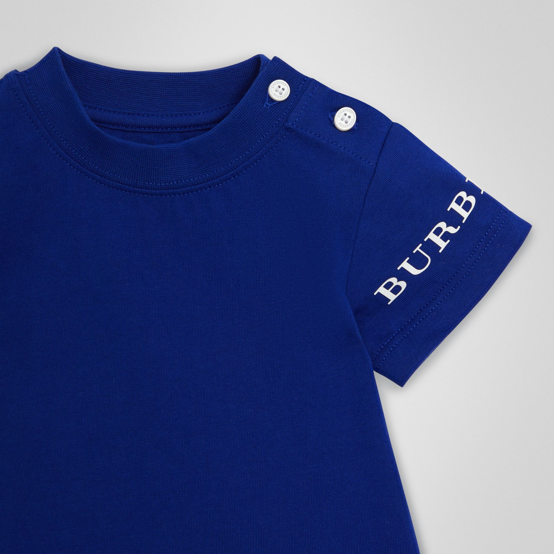 Logo Print Cotton T-shirt in Cobalt Blue - Children | Burberry - gallery image 4