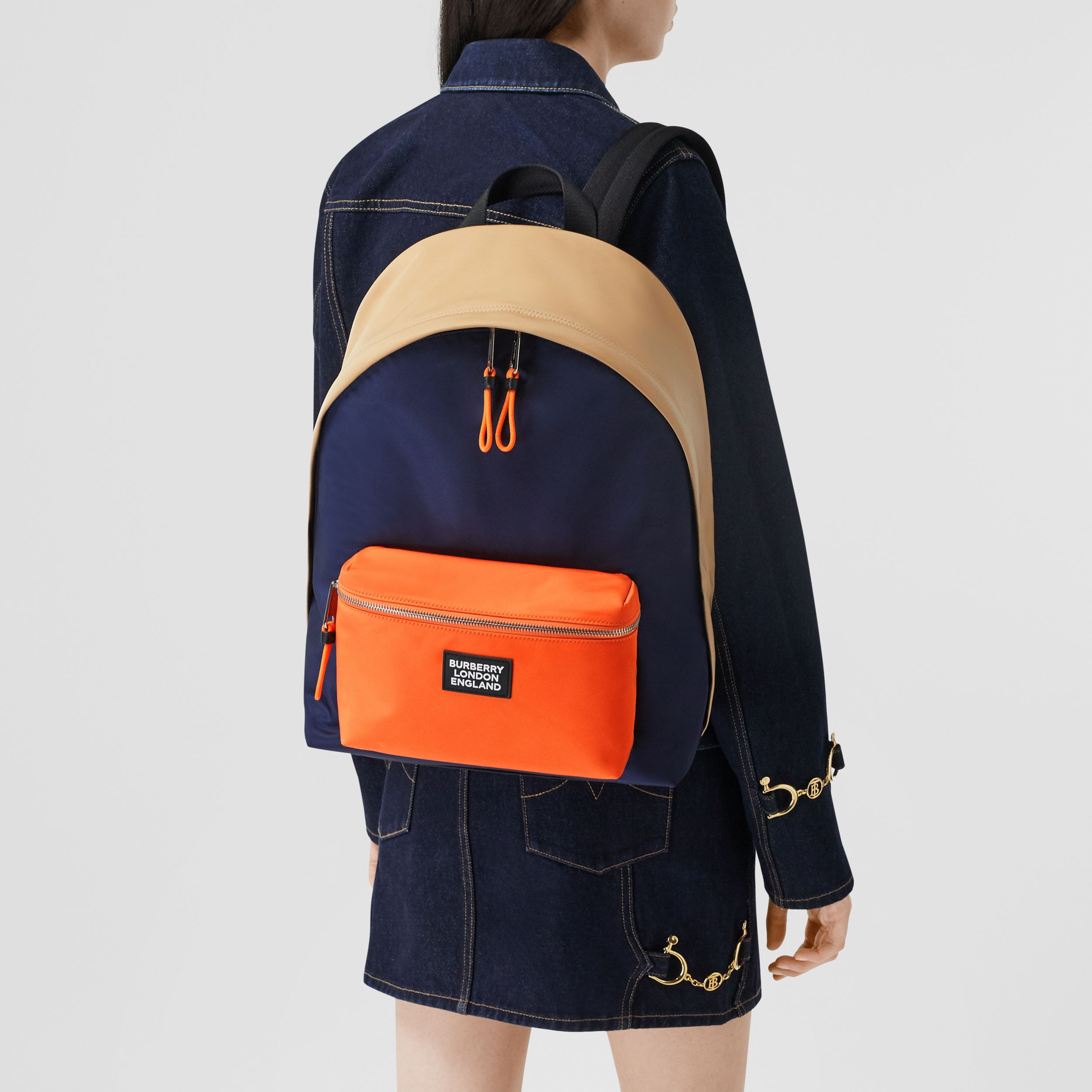 Colour Block ECONYL® Backpack in Regency Blue/bright Orange - Men | Burberry - 3