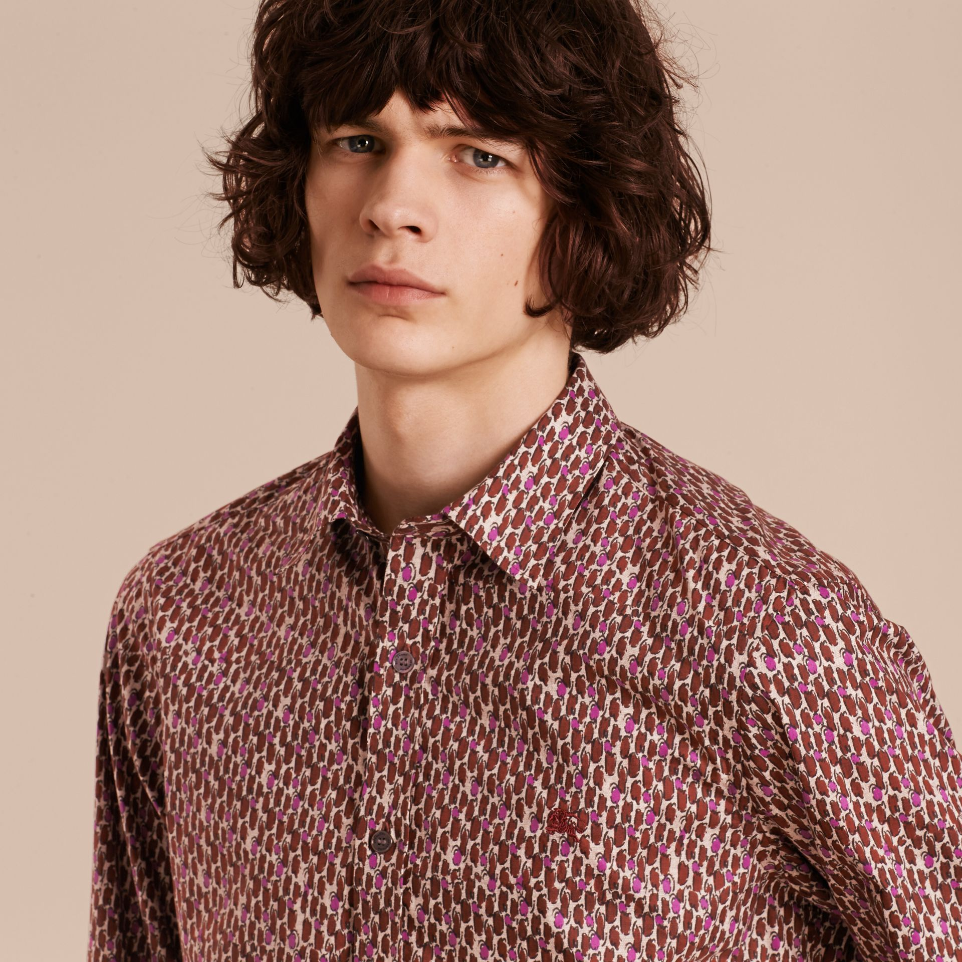 Parade red Painterly Dash Print Cotton Shirt Parade Red - gallery image 6