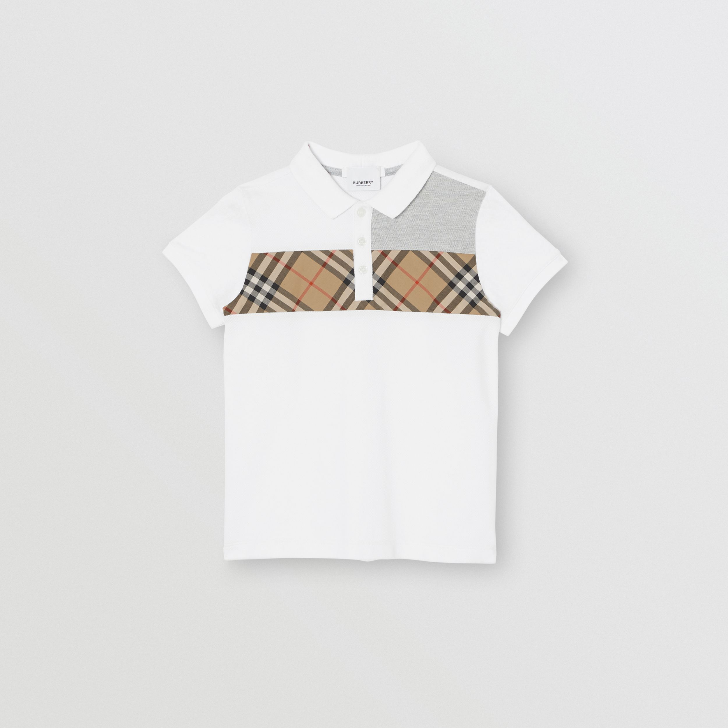 Vintage Check Panel Cotton Polo Shirt in White | Burberry - 1