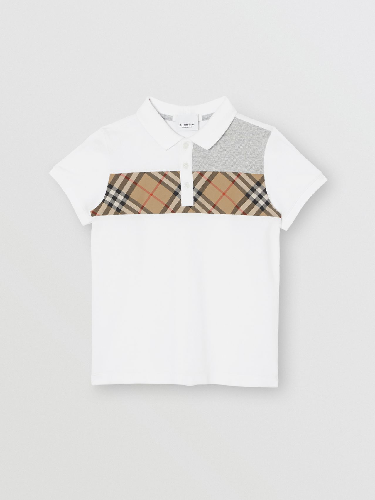 Vintage Check Panel Cotton Polo Shirt in White