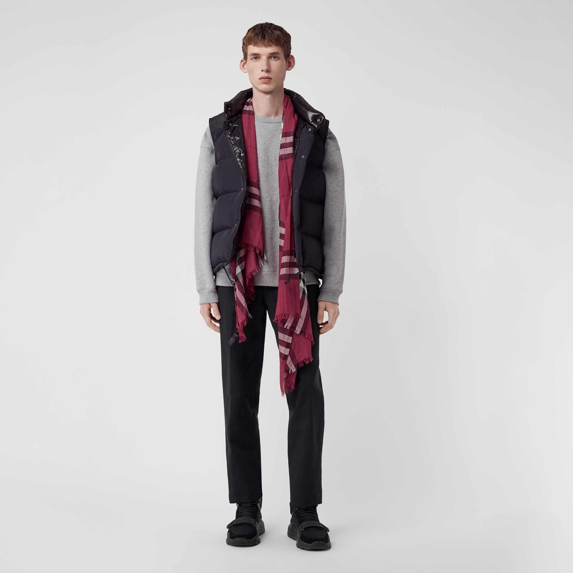 Lightweight Check Wool and Silk Scarf in Plum | Burberry Australia - gallery image 3
