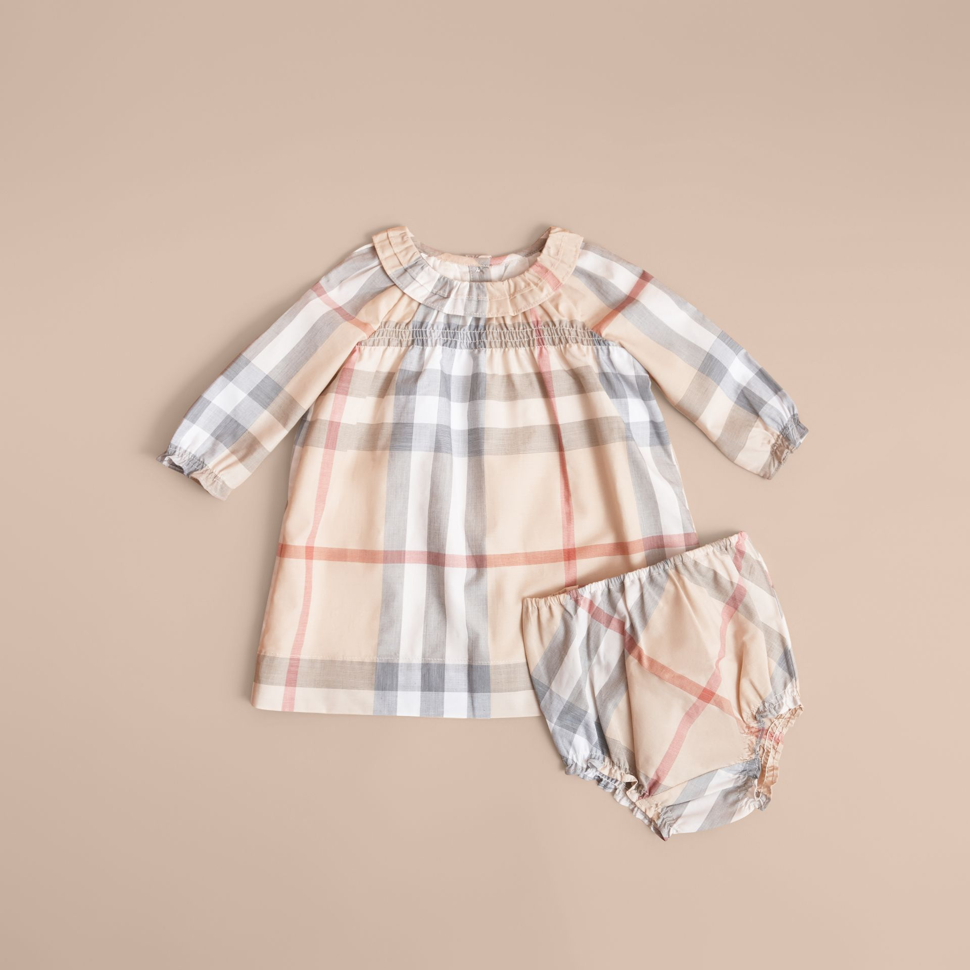 Robe et bloomer en coton à motif check avec volants (Stone Pâle) | Burberry - photo de la galerie 3