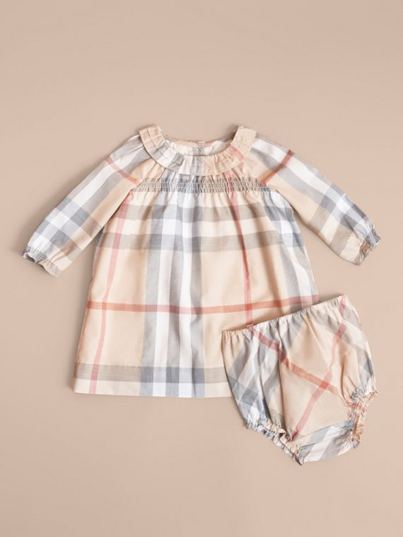 Ruffle Detail Check Cotton Dress and Bloomers in Pale Stone | Burberry United Kingdom - cell image 2