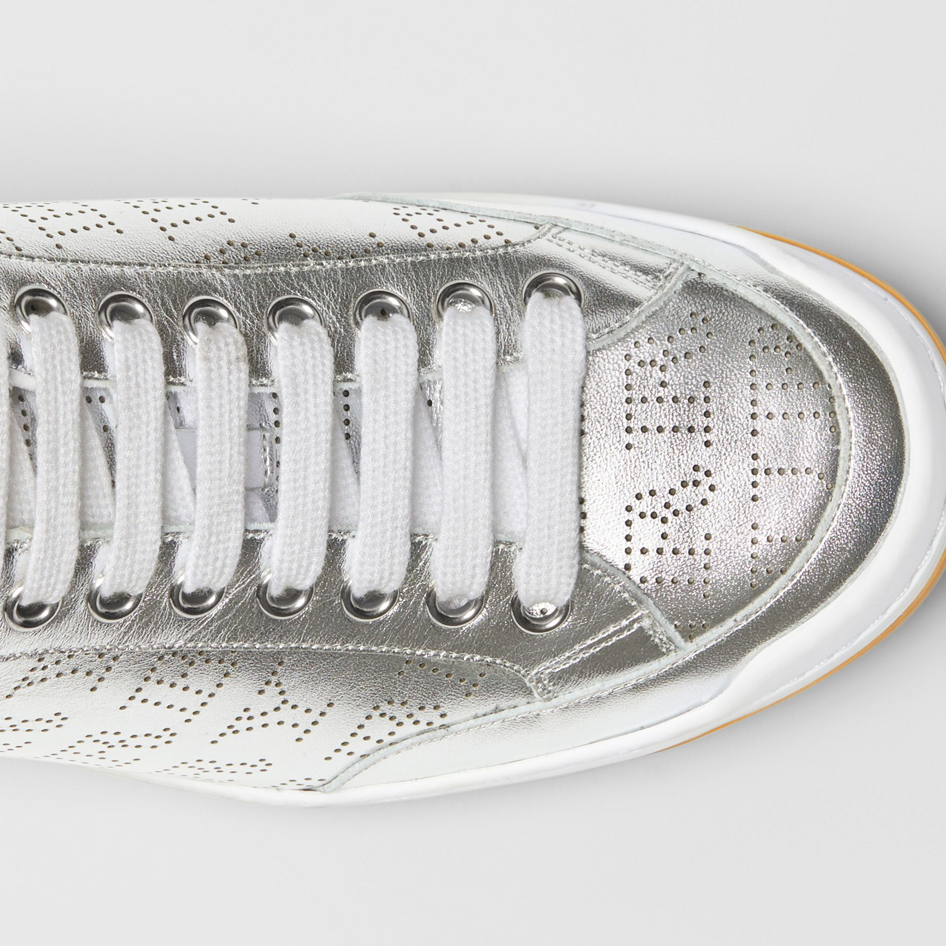 Perforated Logo Metallic Leather Sneakers in Silver Grey - Women | Burberry - gallery image 1
