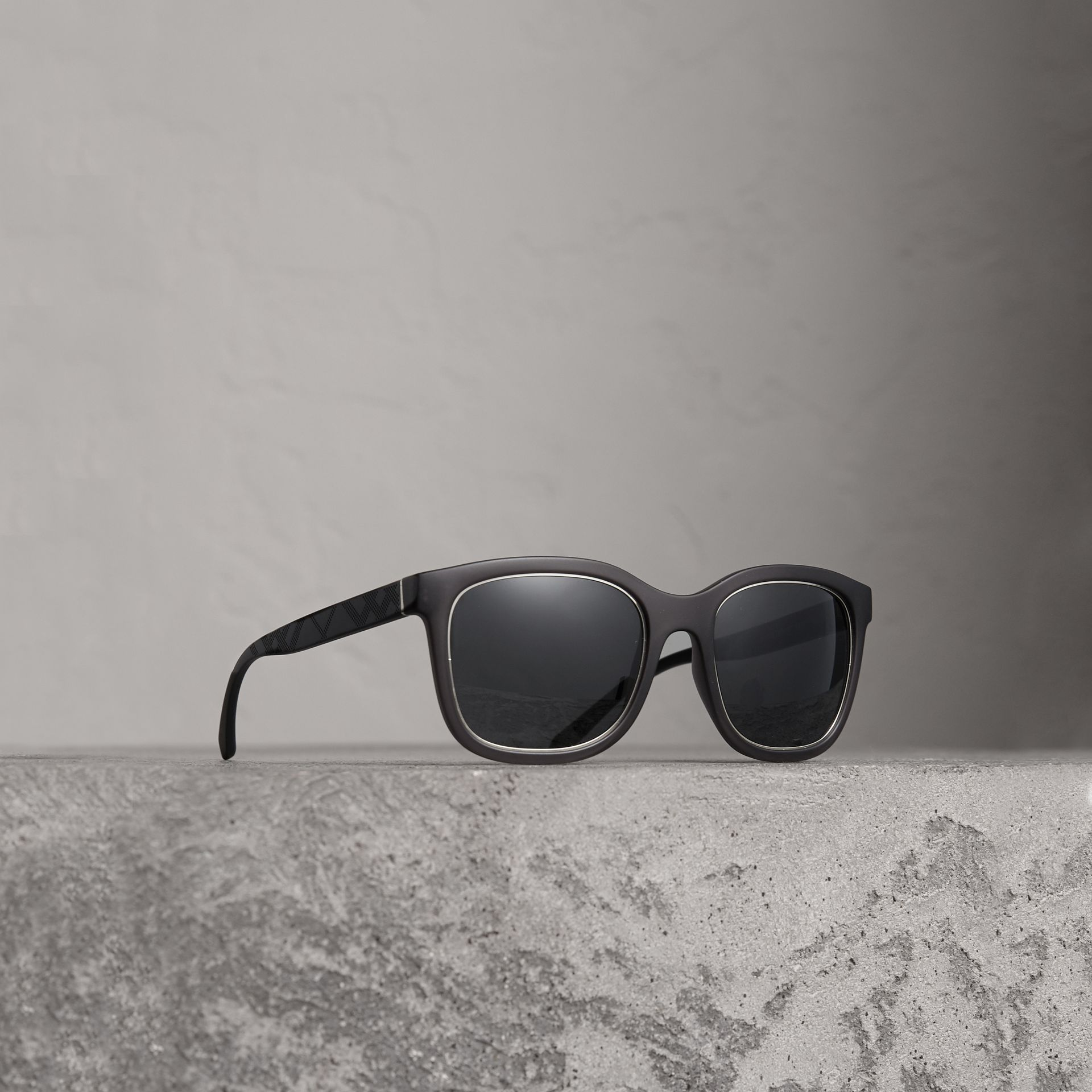 Embossed Check Detail Square Frame Sunglasses in Dark Grey - Men | Burberry - gallery image 0