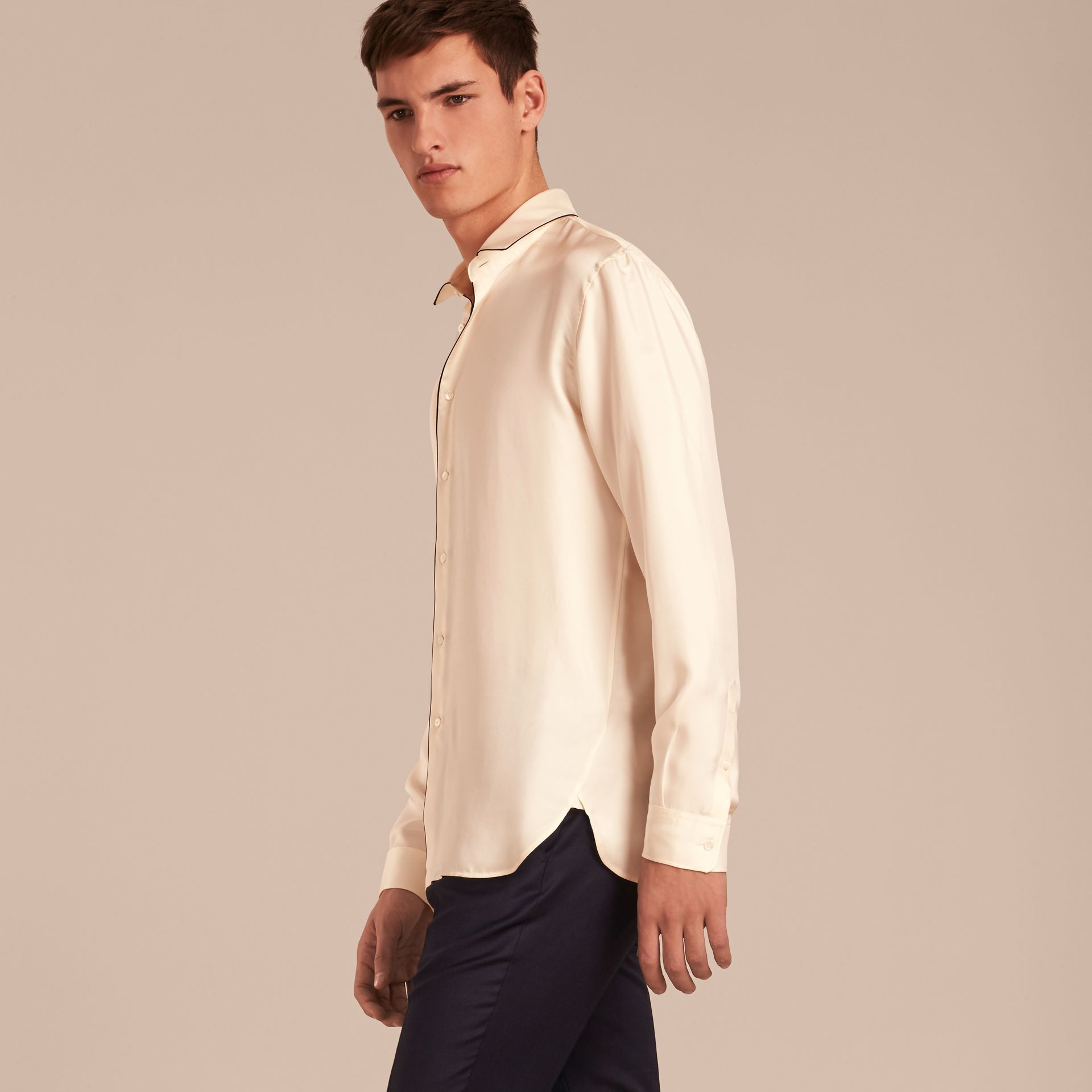 Natural white Piped Modern Fit Silk Shirt - gallery image 6