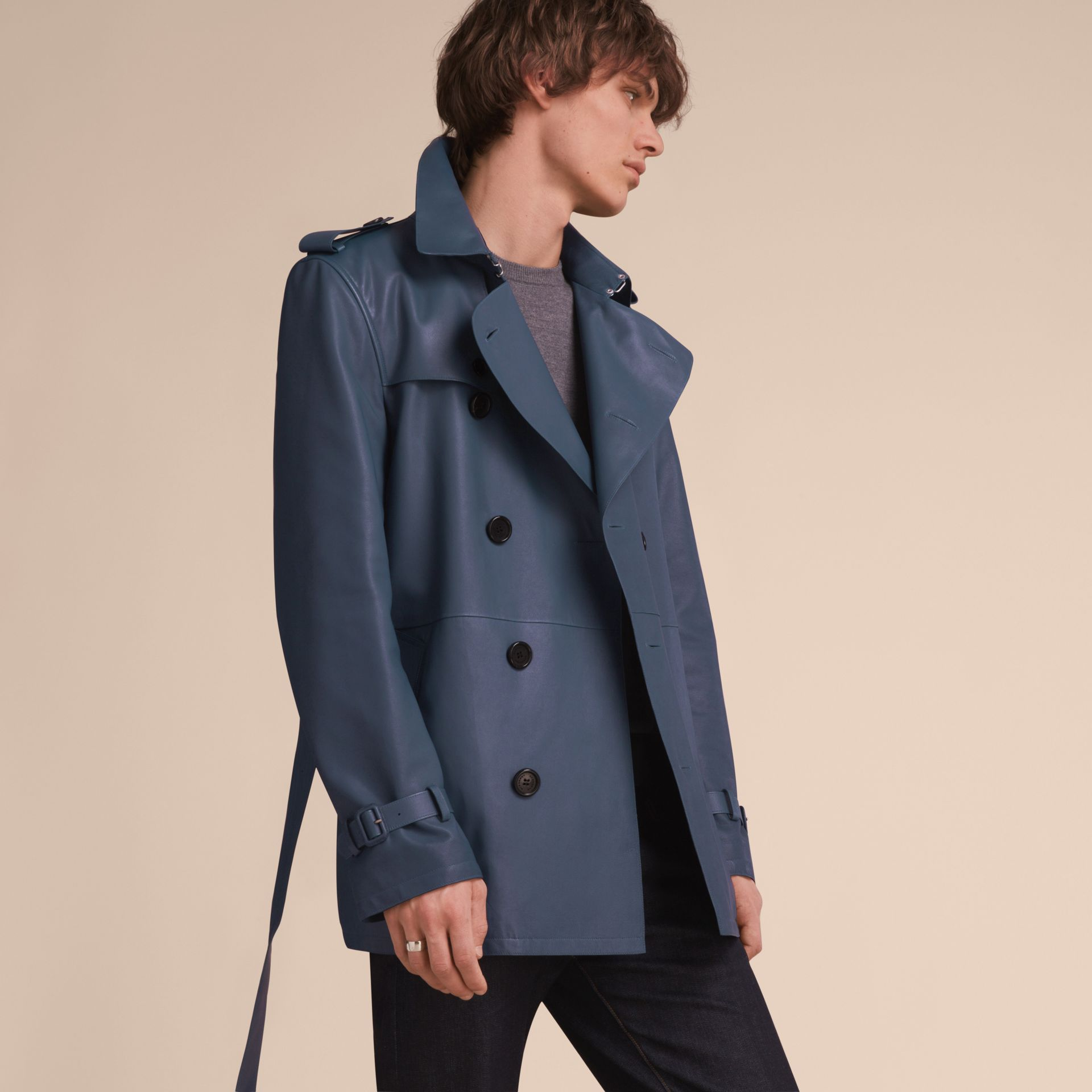 Short Leather Trench Coat - gallery image 7