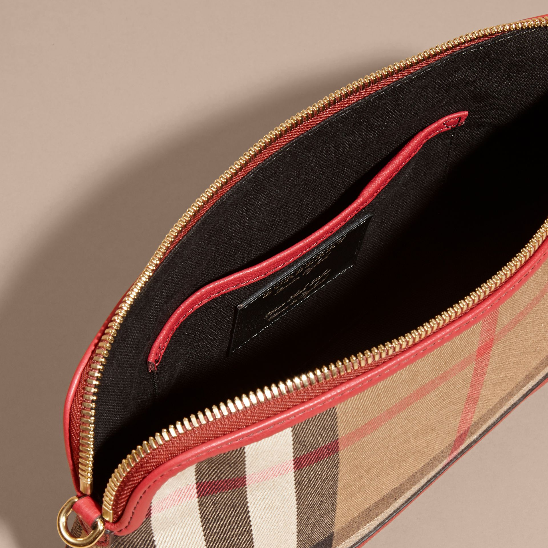 House Check and Leather Clutch Bag in Russet Red - Women | Burberry - gallery image 6