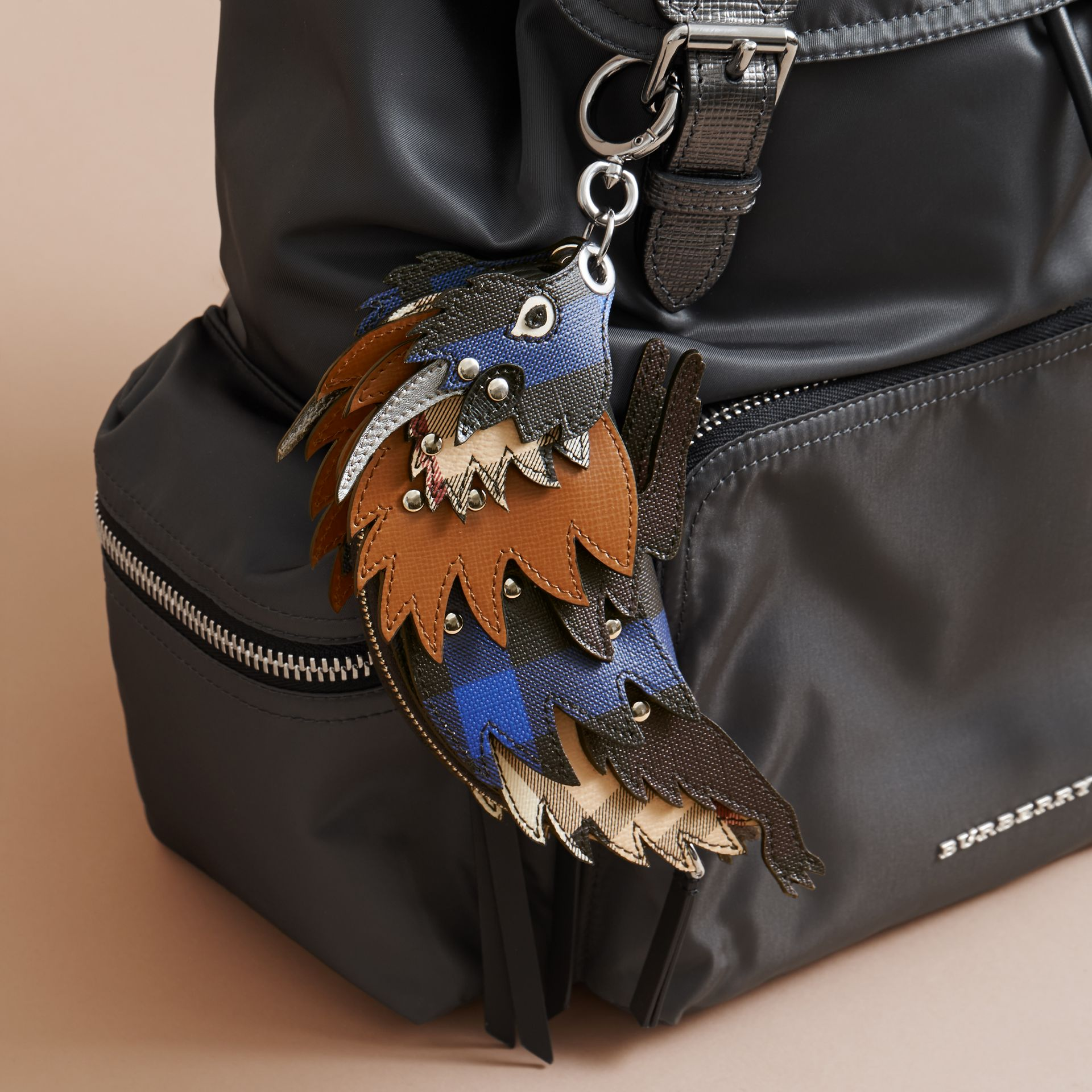 The Bull – Leather and Check Pouch in Bright Lapis - Men | Burberry - gallery image 3