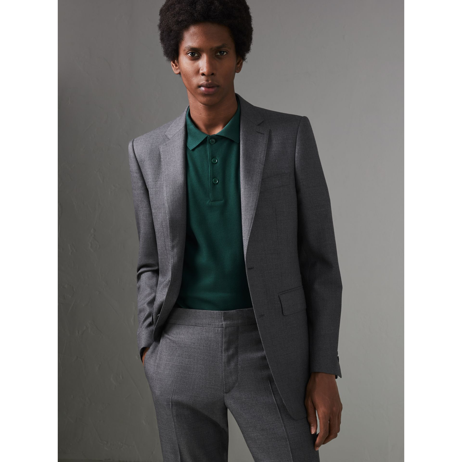 Modern Fit Sharkskin Wool Suit in Mid Grey Melange - Men | Burberry - gallery image 5