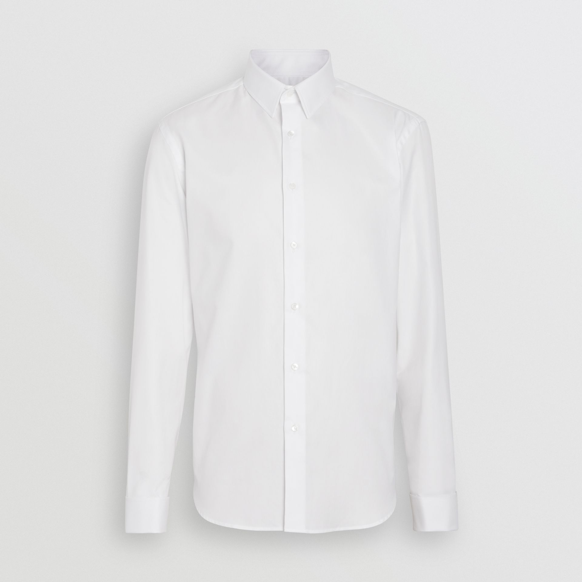 Modern Fit Double Cuff Cotton Shirt in White - Men | Burberry United States - gallery image 3