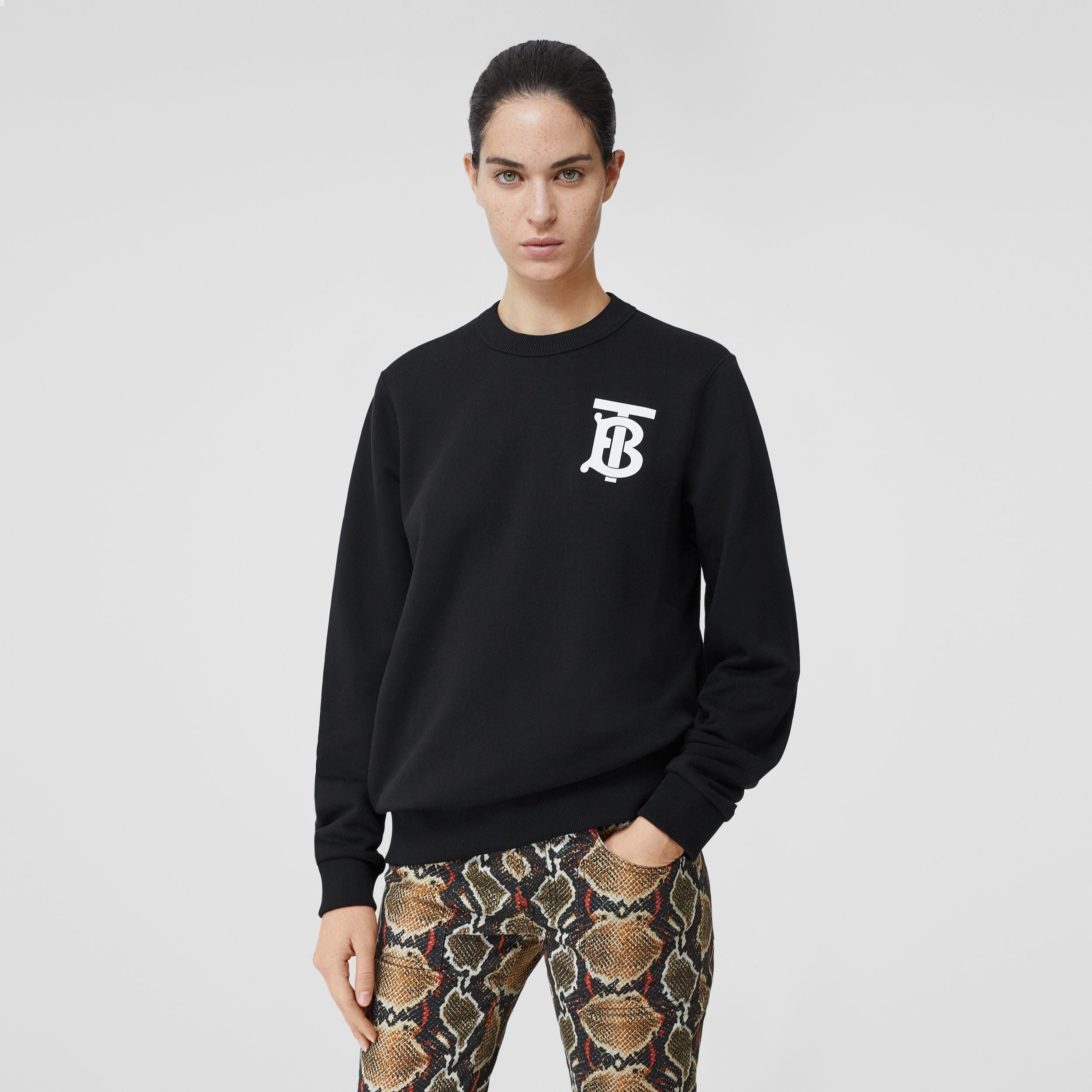 Monogram Motif Cotton Sweatshirt in Black - Women | Burberry - 1