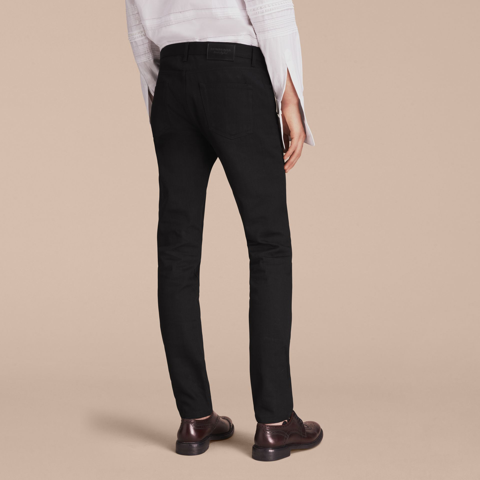 Slim Fit Japanese Denim Jeans in Black - Men | Burberry - gallery image 2