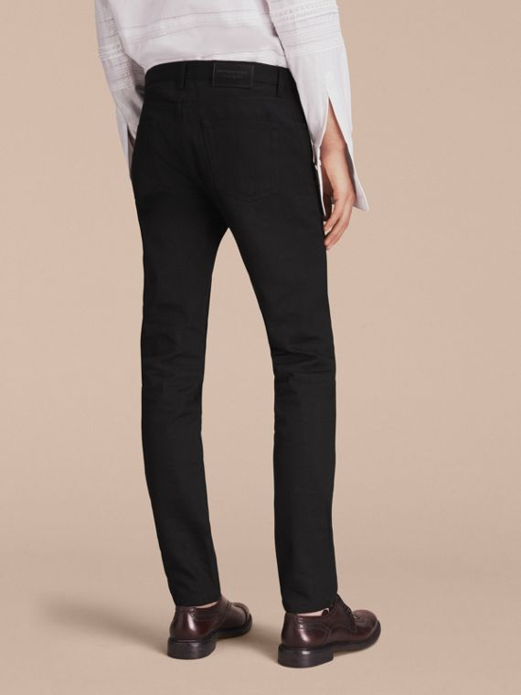 Slim Fit Japanese Denim Jeans in Black - Men | Burberry United Kingdom - cell image 2