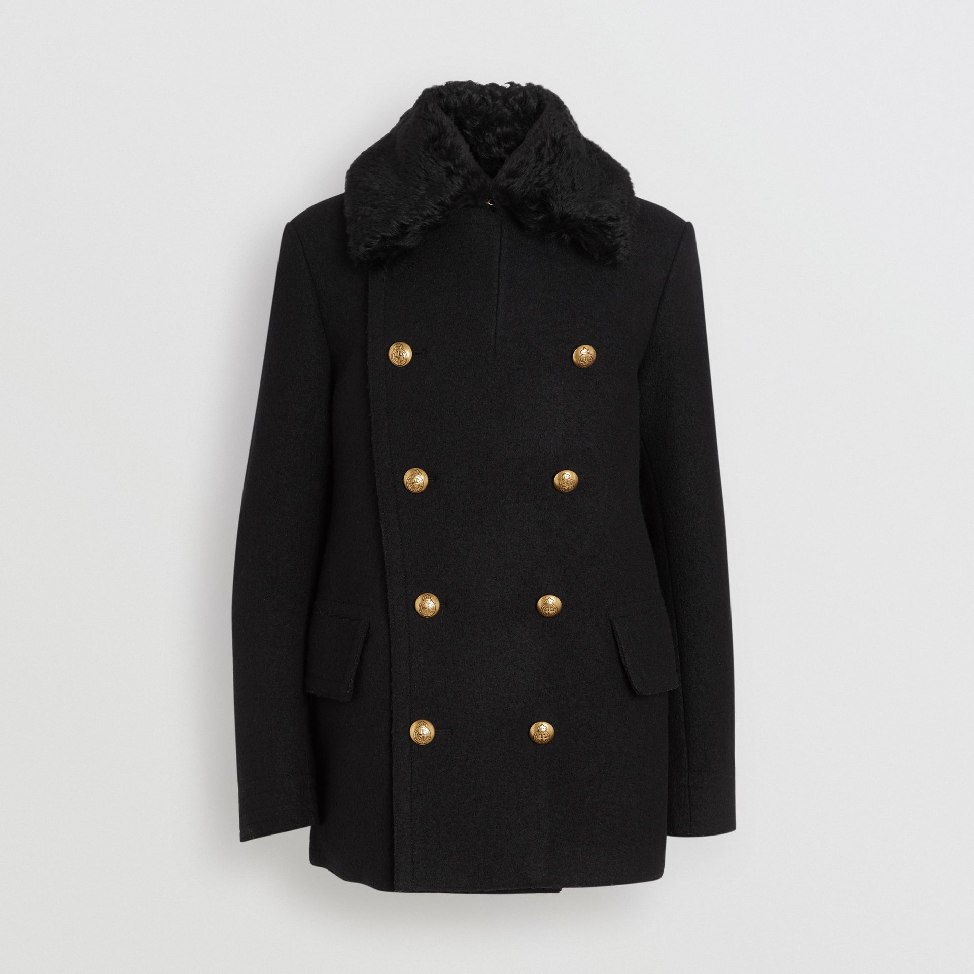 Detachable Shearling Collar Wool Pea Coat in Black - Men | Burberry - gallery image 3