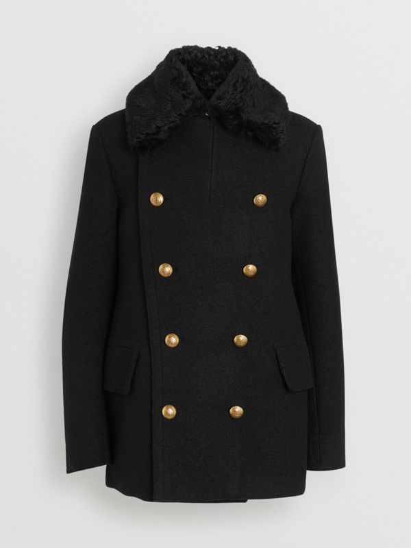 Detachable Shearling Collar Wool Pea Coat in Black - Men | Burberry - cell image 3