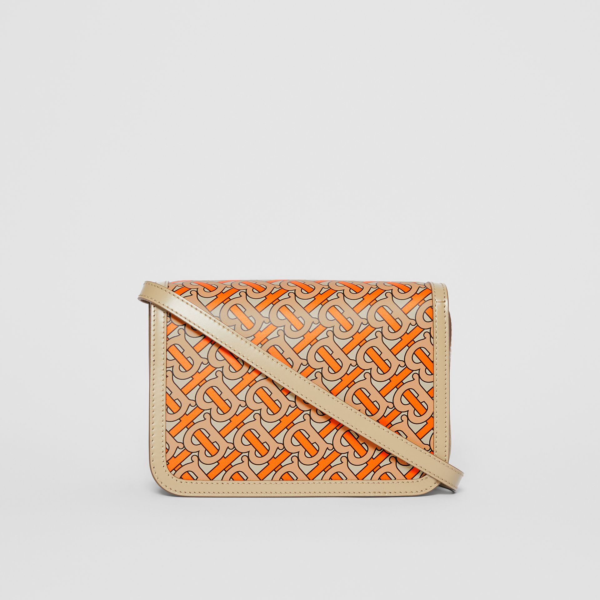 Small Monogram Print Leather TB Bag in Bright Orange - Women | Burberry - gallery image 7
