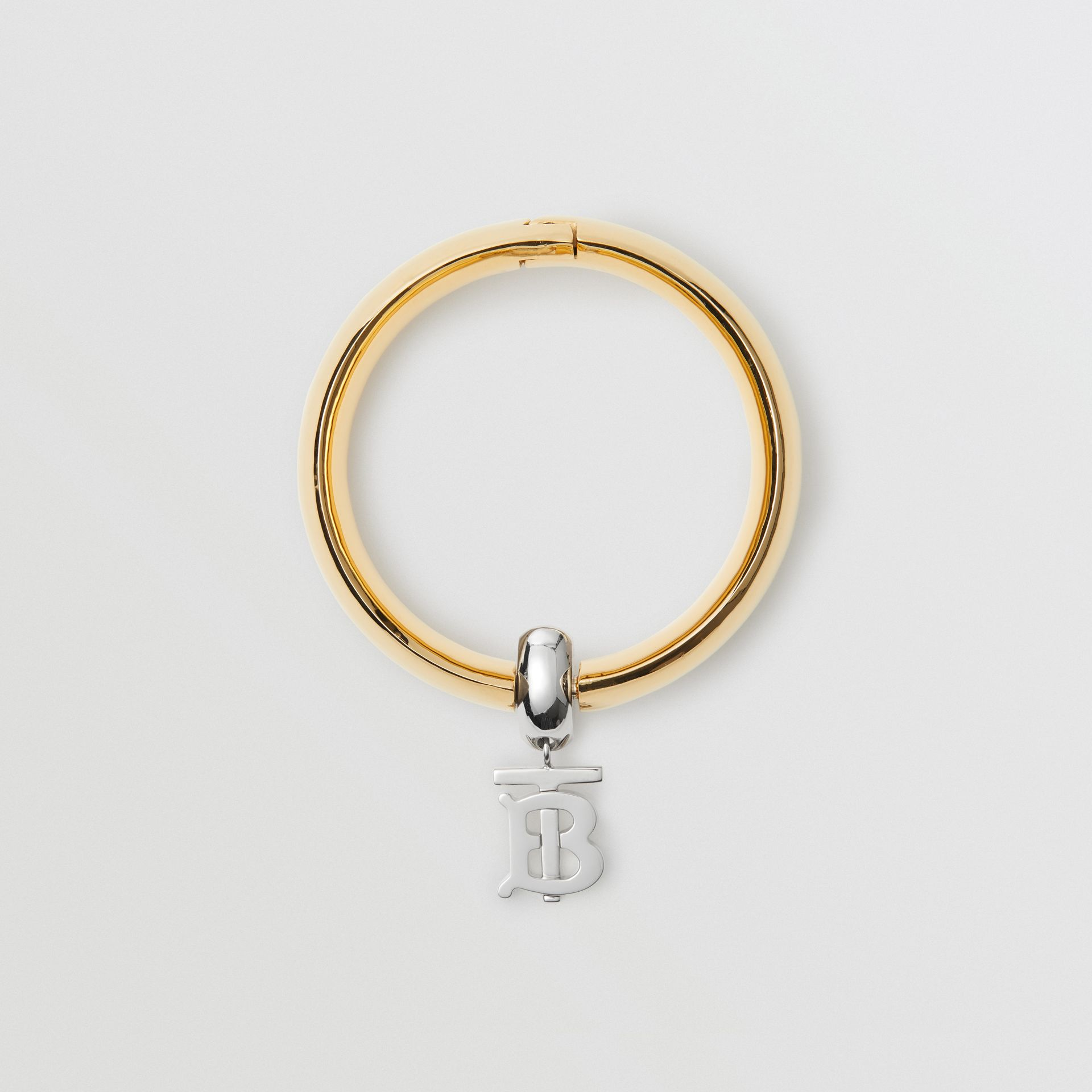 Gold-plated Monogram Motif Bangle in Light - Women | Burberry United Kingdom - gallery image 0