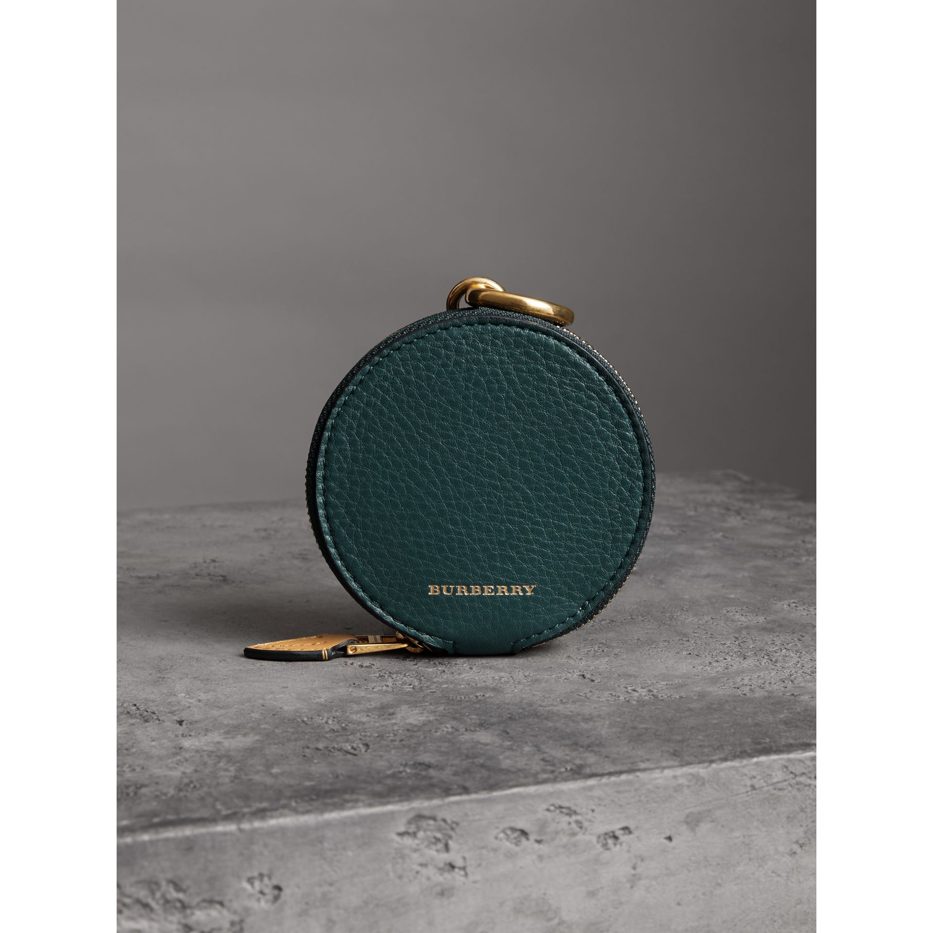 Small Round Leather Coin Case in Dark Cyan/cornflower Yellow | Burberry - gallery image 3