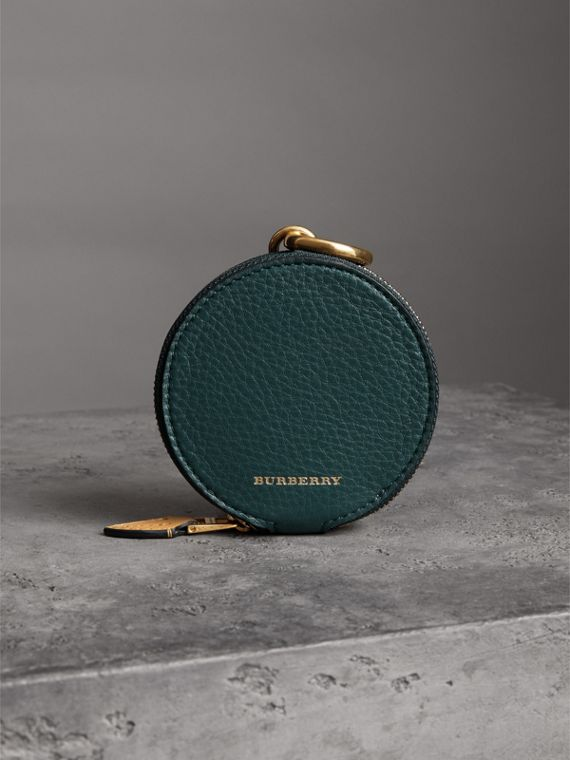 Small Round Leather Coin Case in Dark Cyan/cornflower Yellow | Burberry United States - cell image 3