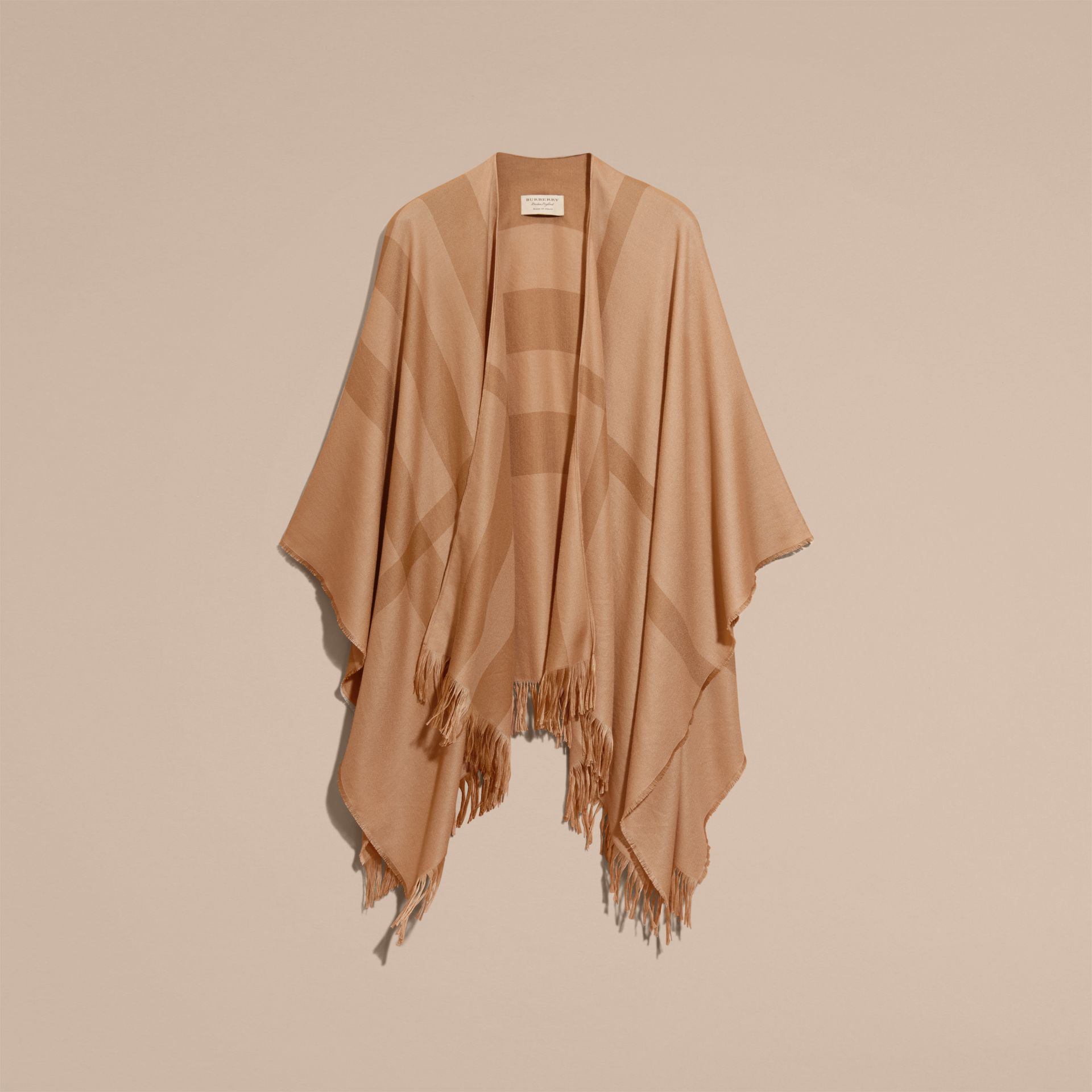 Camel Lightweight Check Cashmere Poncho Camel - gallery image 4