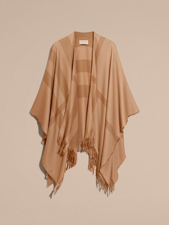 Camel Lightweight Check Cashmere Poncho Camel - cell image 3