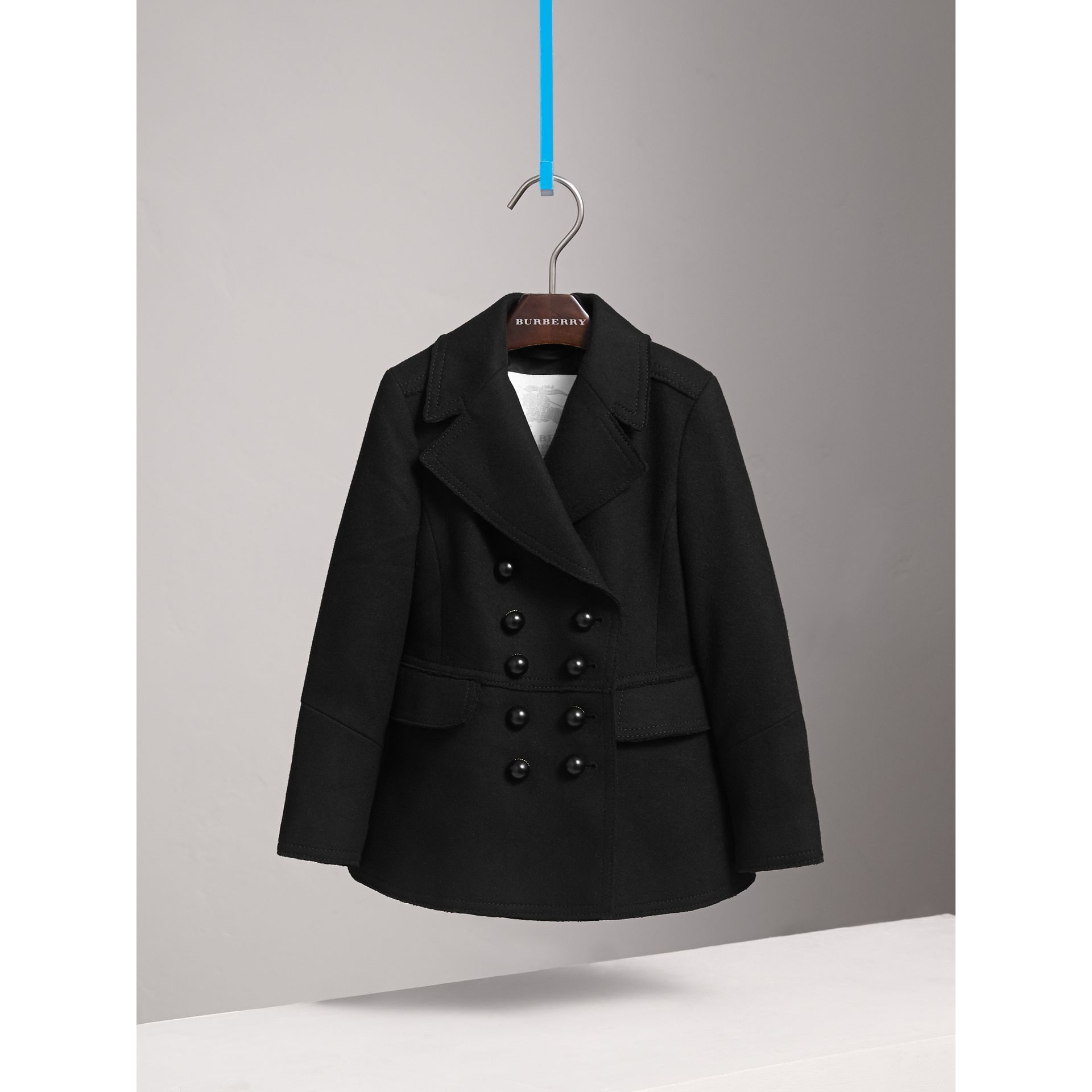 Wool Blend Peplum Jacket in Black - Girl | Burberry Australia - gallery image 3