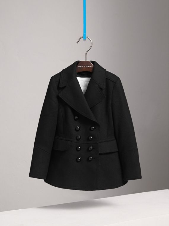 Wool Blend Peplum Jacket in Black - Girl | Burberry Australia - cell image 2