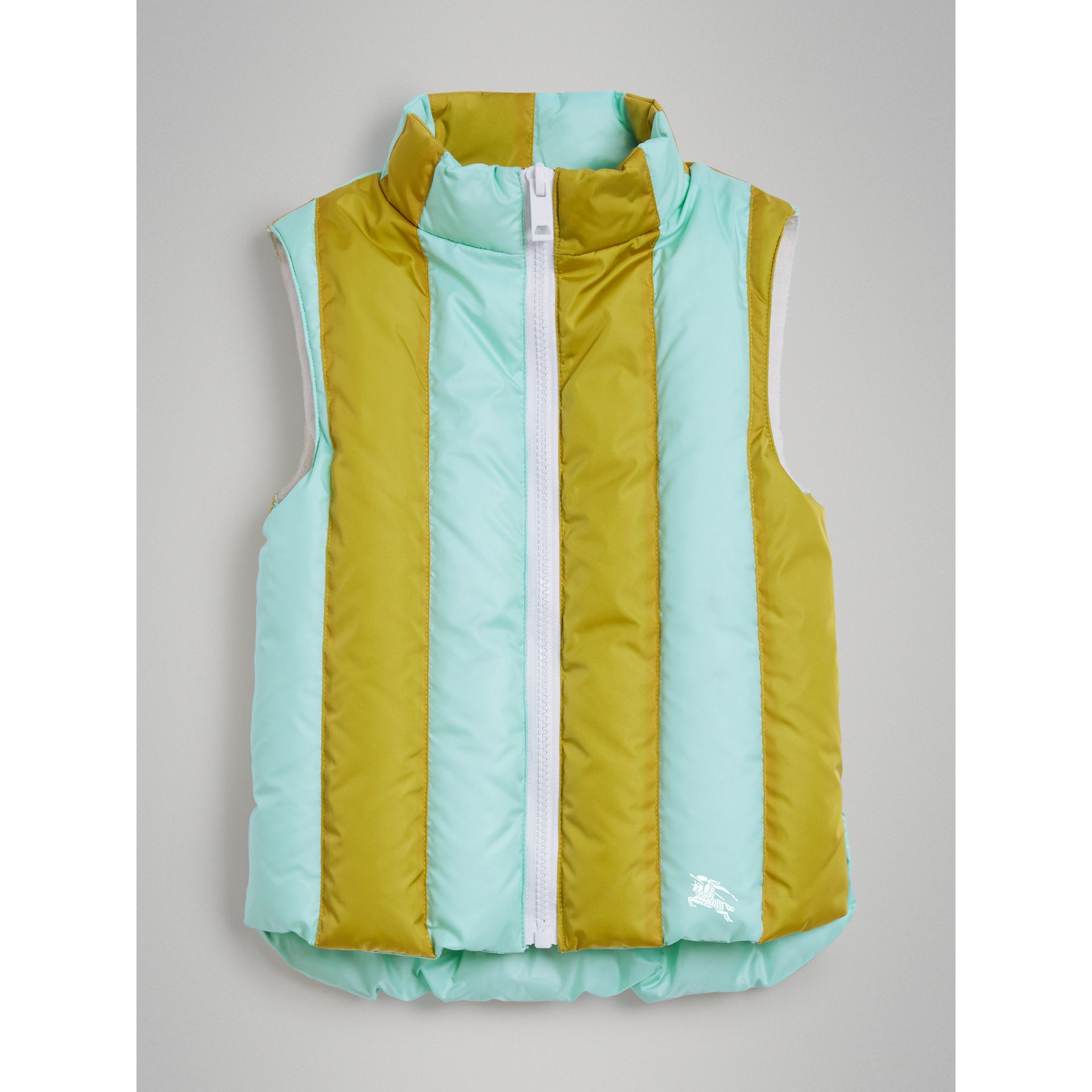 Striped Showerproof Down-filled Gilet in Pale Mint - Girl   Burberry - gallery image 2