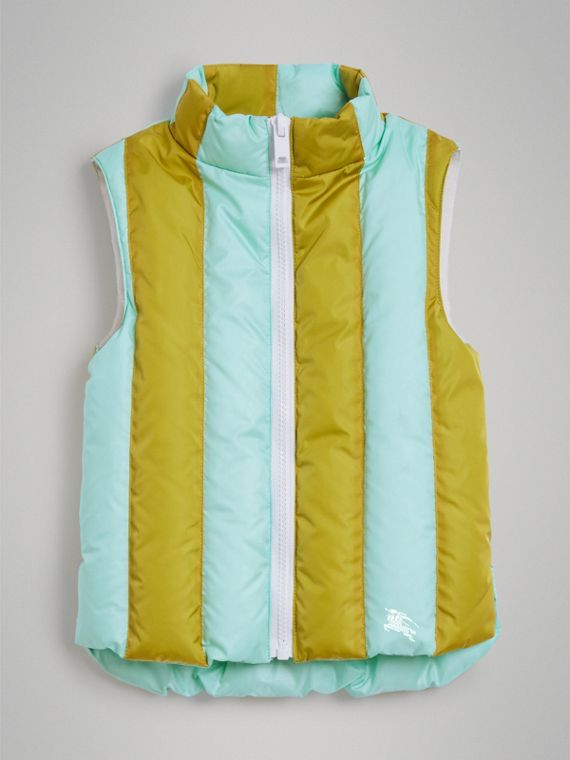 Striped Showerproof Down-filled Gilet in Pale Mint