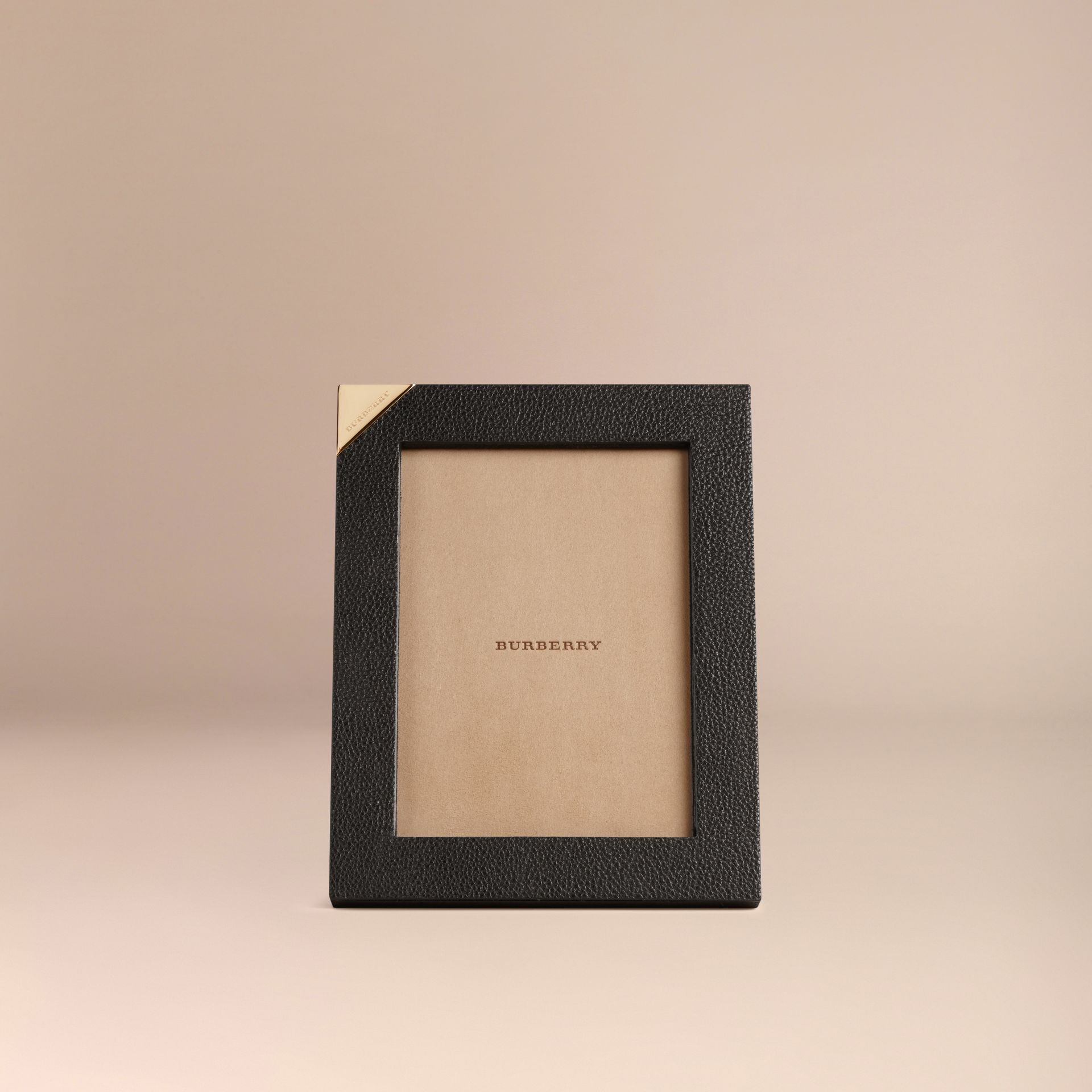 Black Medium Grainy Leather Picture Frame Black - gallery image 2