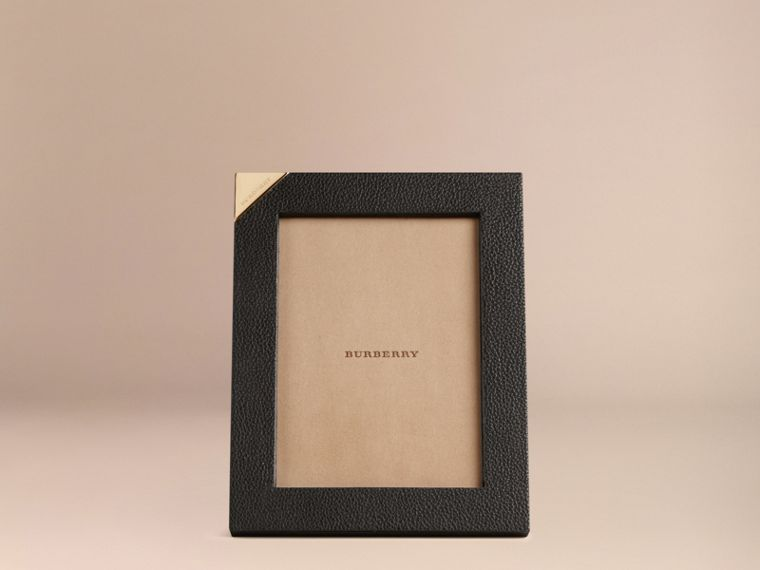 Black Medium Grainy Leather Picture Frame Black - cell image 1