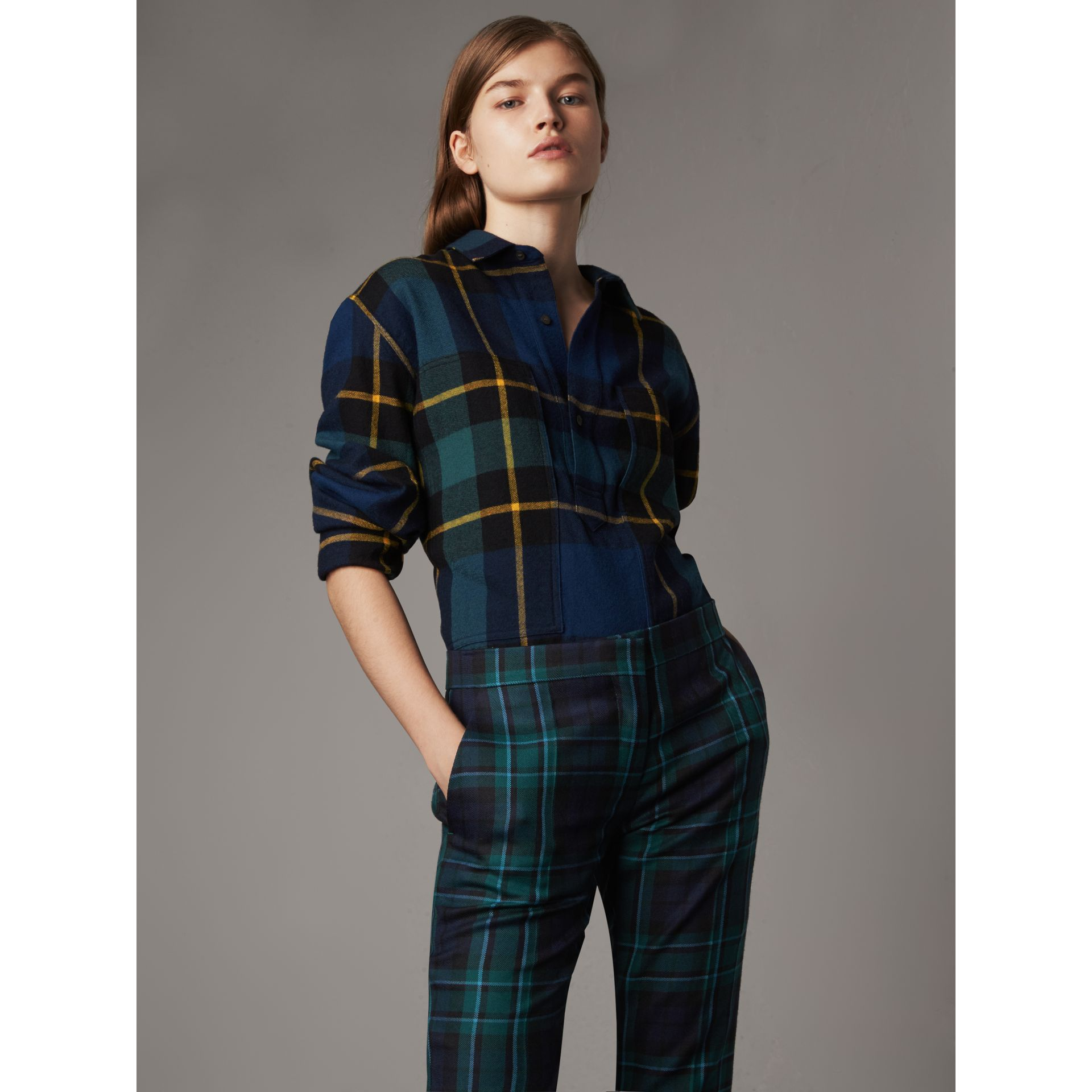 Tartan Wool Flannel Tunic Shirt in Ink Blue - Women | Burberry United States - gallery image 1