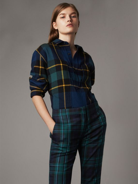 Tartan Wool Flannel Tunic Shirt in Ink Blue