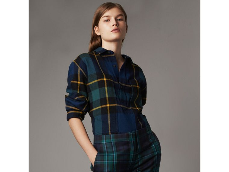 Tartan Wool Flannel Tunic Shirt in Ink Blue - Women | Burberry - cell image 1