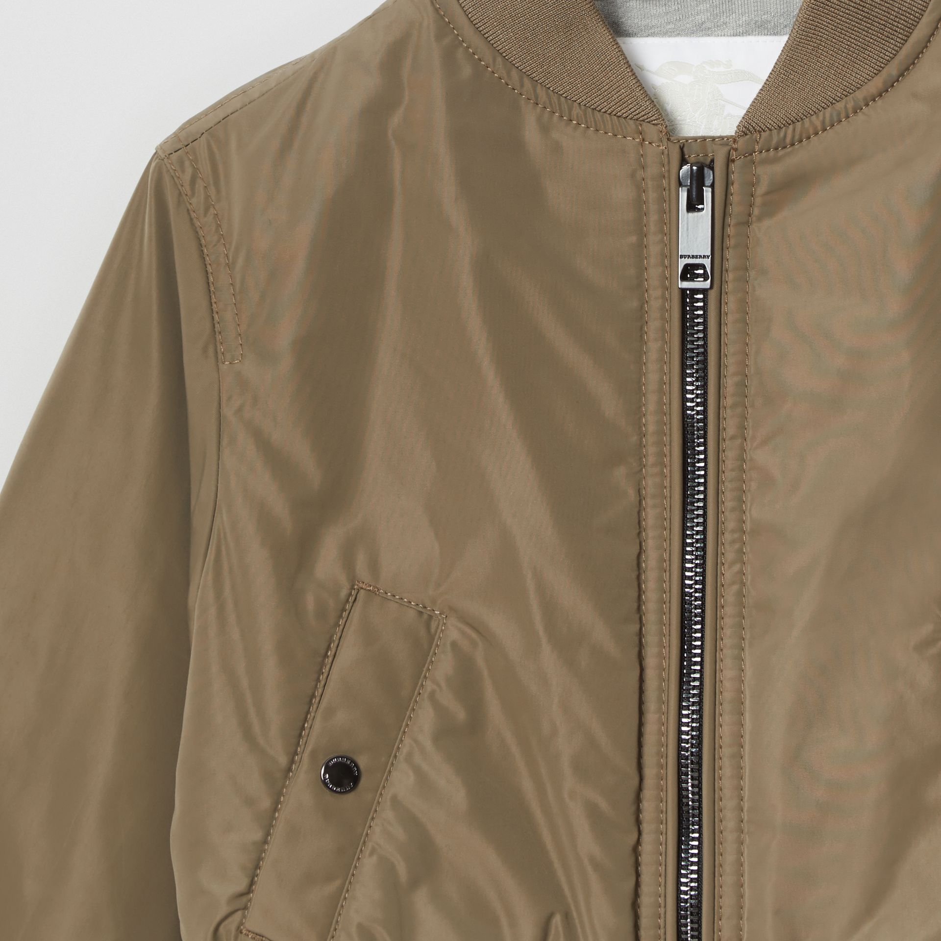 Logo Print Shape-memory Taffeta Bomber Jacket in Khaki | Burberry United Kingdom - gallery image 4