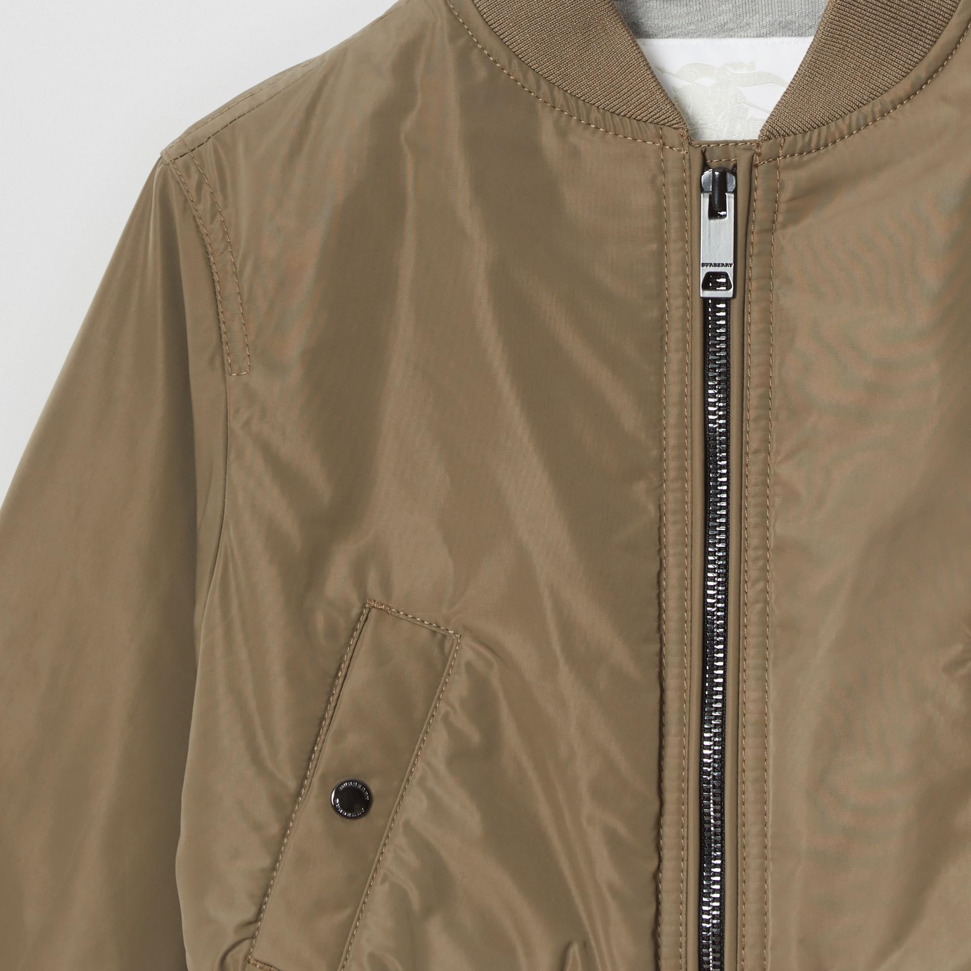 Logo Print Shape-memory Taffeta Bomber Jacket in Khaki | Burberry - gallery image 4