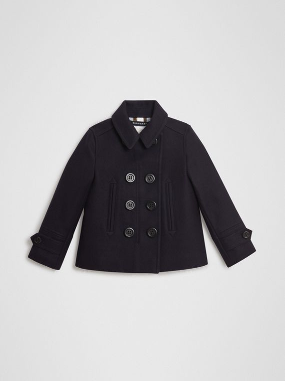 Pea coat in misto lana e cashmere (Navy)
