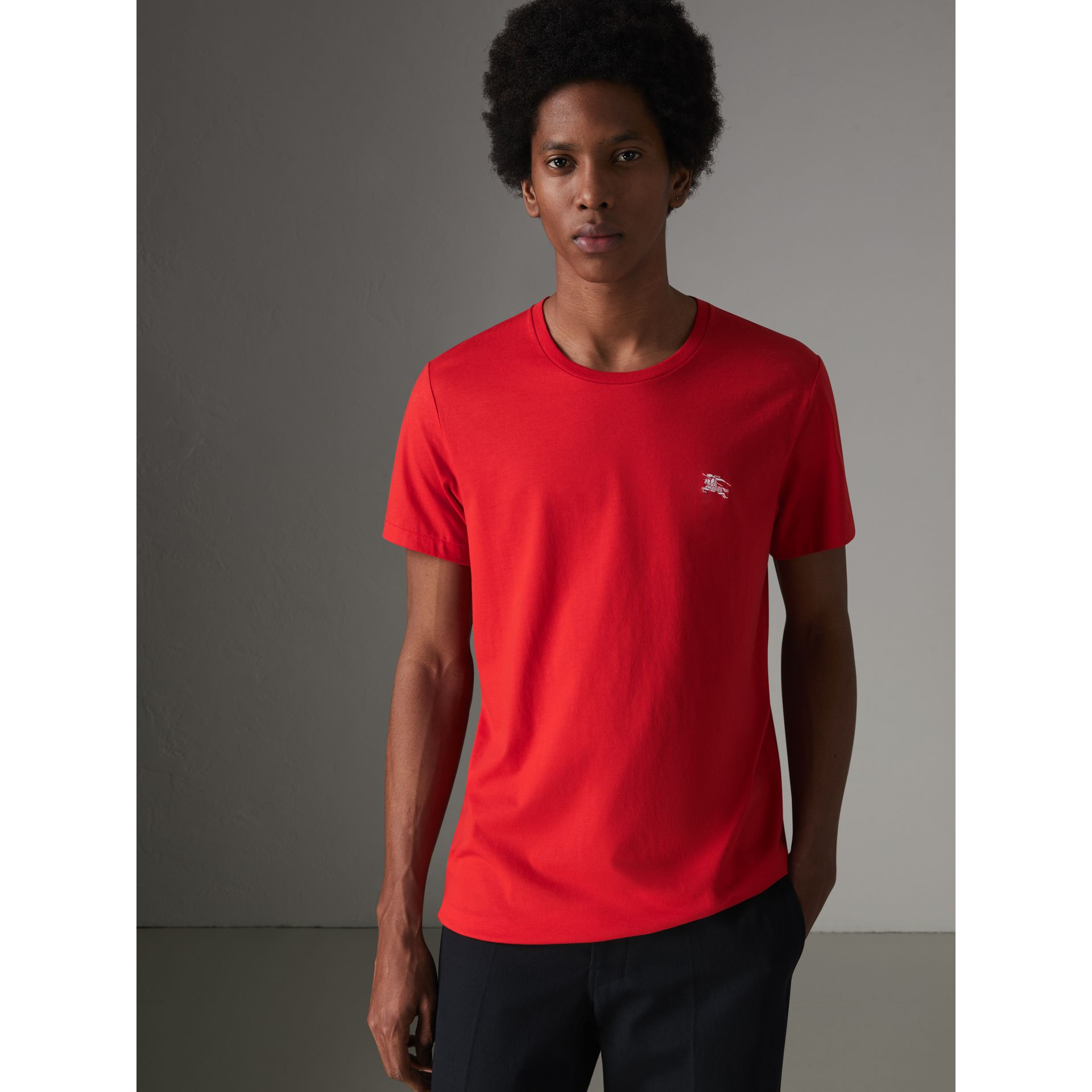 Cotton Jersey T-shirt in Bright Red - Men | Burberry - gallery image 0