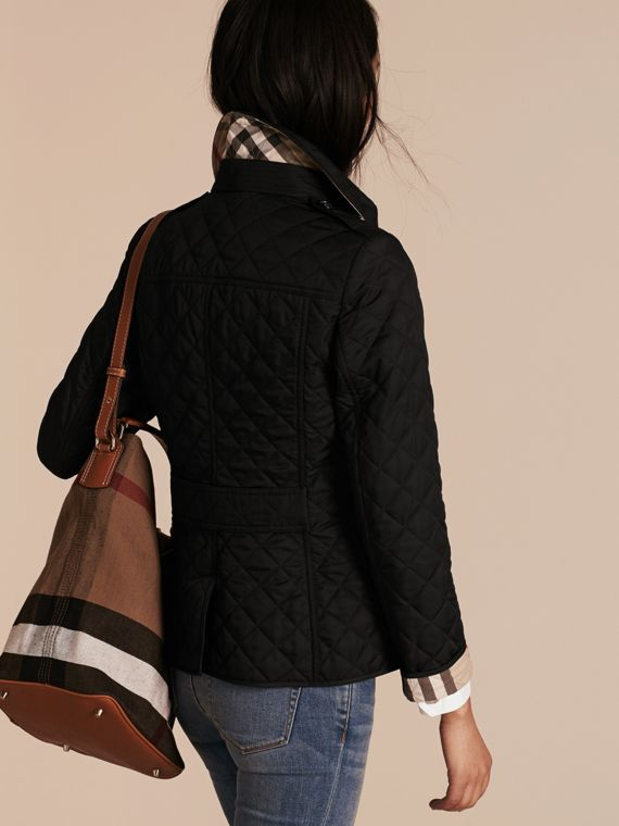 Diamond Quilted Jacket in Black - cell image 2