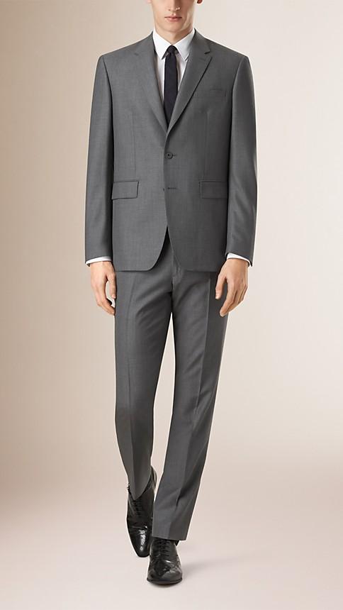 Mid grey melange Classic Fit Wool Part-canvas Suit - Image 1